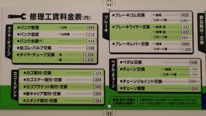 イオン自転車作業工賃表